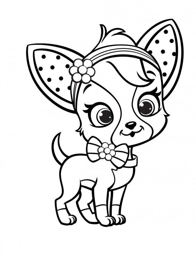Собачка с бантиком » Раскраски для детей распечатать ...