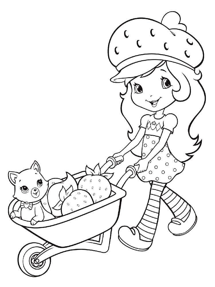 Девочка на тачке везет клубнику и кошку » Раскраски для ...