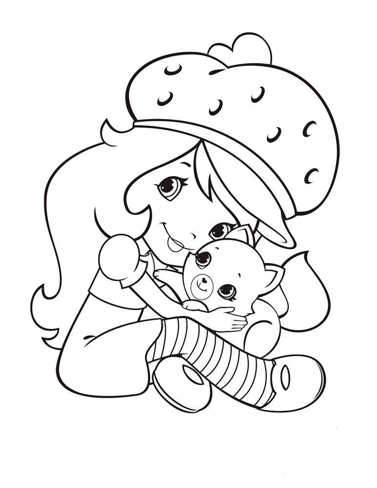 Девочка земляника и кошка » Раскраски для детей ...