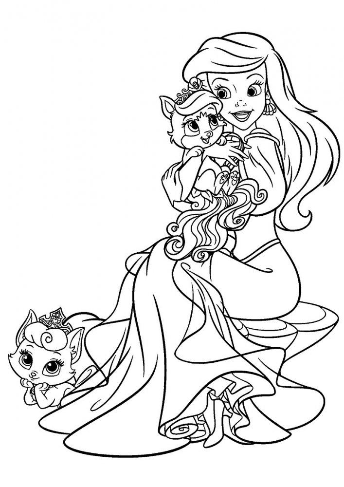 Русалочка со своими питомцами » Раскраски для детей ...