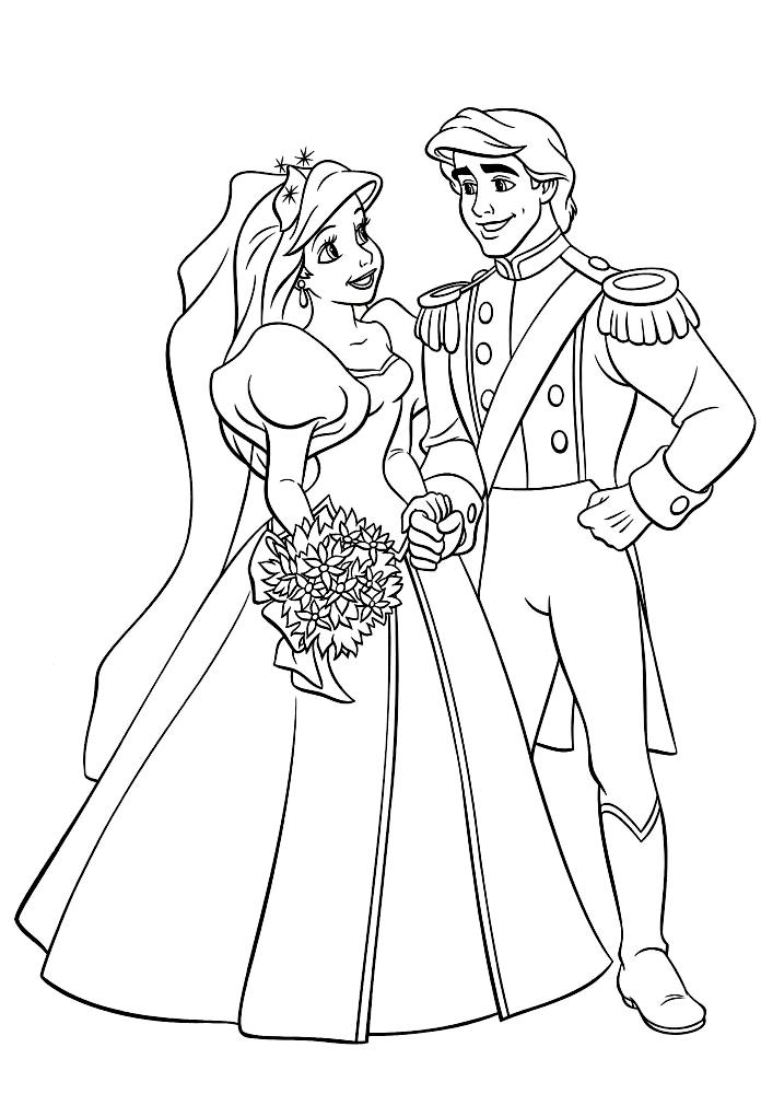 Ариэль и Эрик женятся » Раскраски для детей распечатать ...