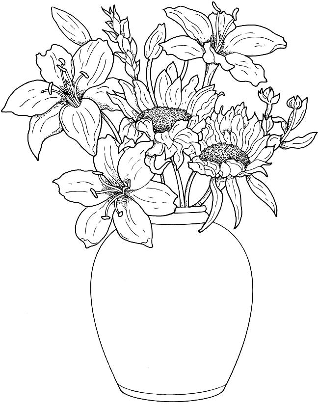Цветы в вазе » Раскраски для детей распечатать бесплатно ...