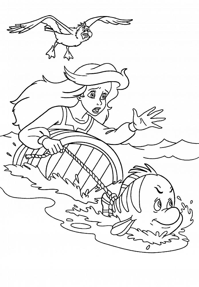 Русалочка в погоне » Раскраски для детей распечатать ...