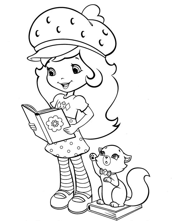 Девочка с книгой и котик » Раскраски для детей распечатать ...