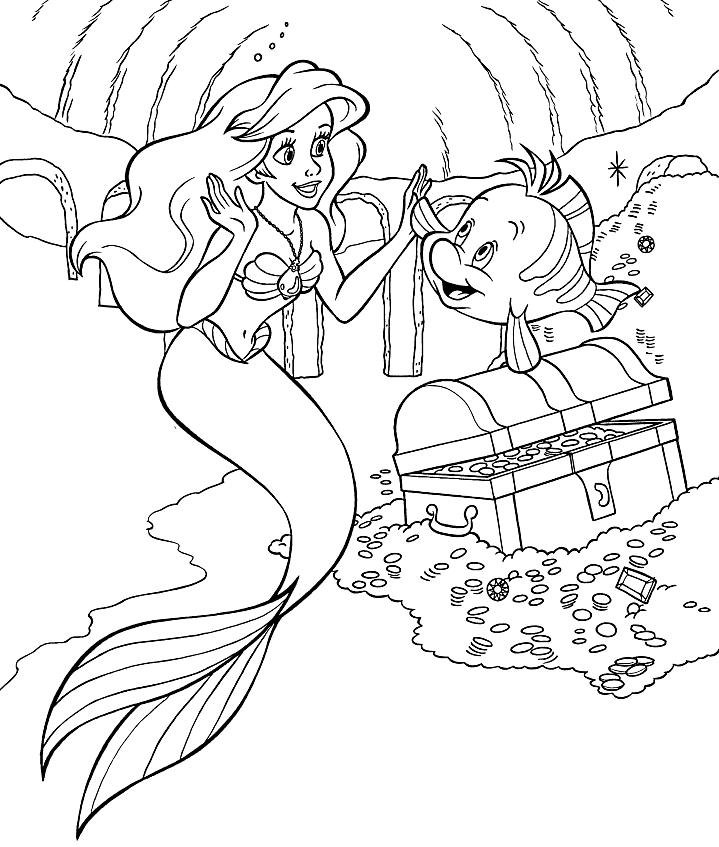Ариэль и Флаундер в пещере » Раскраски для детей ...