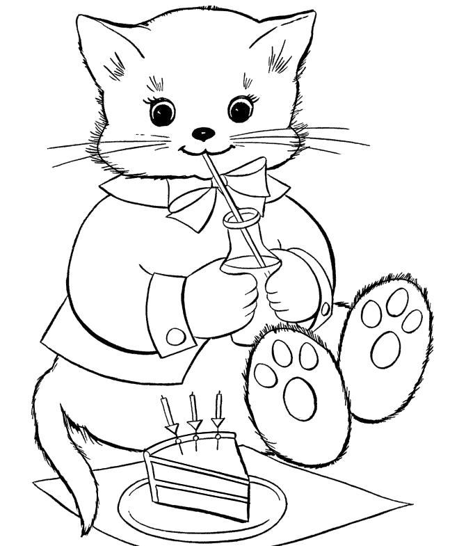 Котик пьет молочко » Раскраски для детей распечатать ...