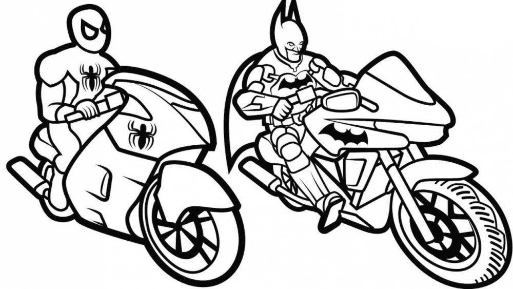 Бэтмен и Человек Паук на мотоциклах » Раскраски для детей ...