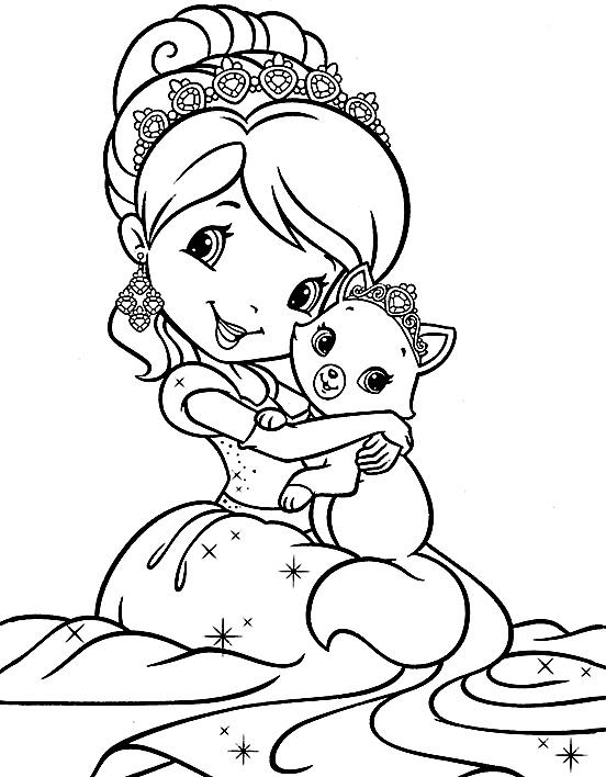 Принцесса и кошка » Раскраски для детей распечатать ...