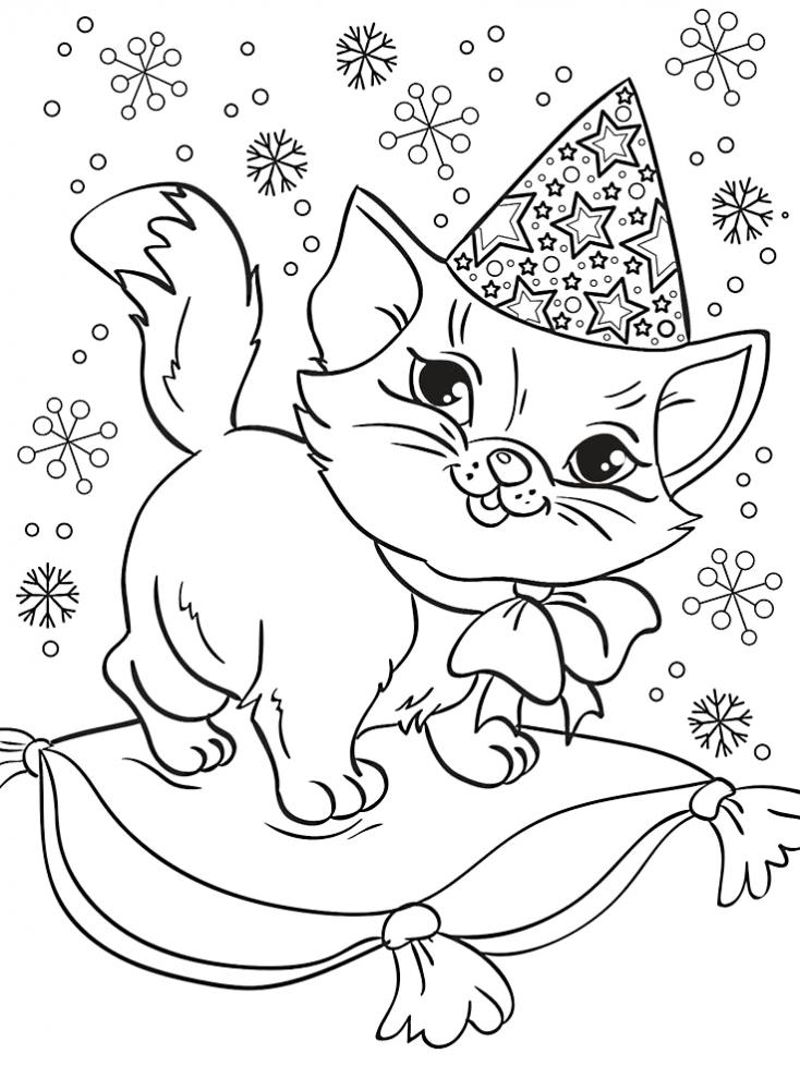 Кошечка в шапке на подушке » Раскраски для детей ...