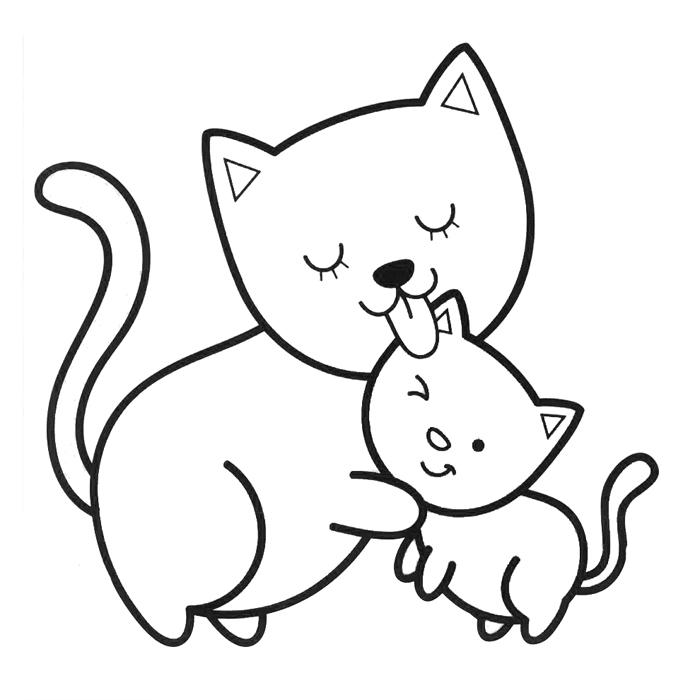 Мама кошка и котенок » Раскраски для детей распечатать ...