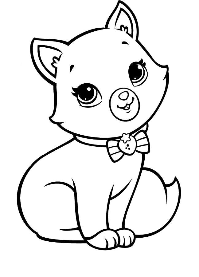 Котенок с бантиком » Раскраски для детей распечатать ...