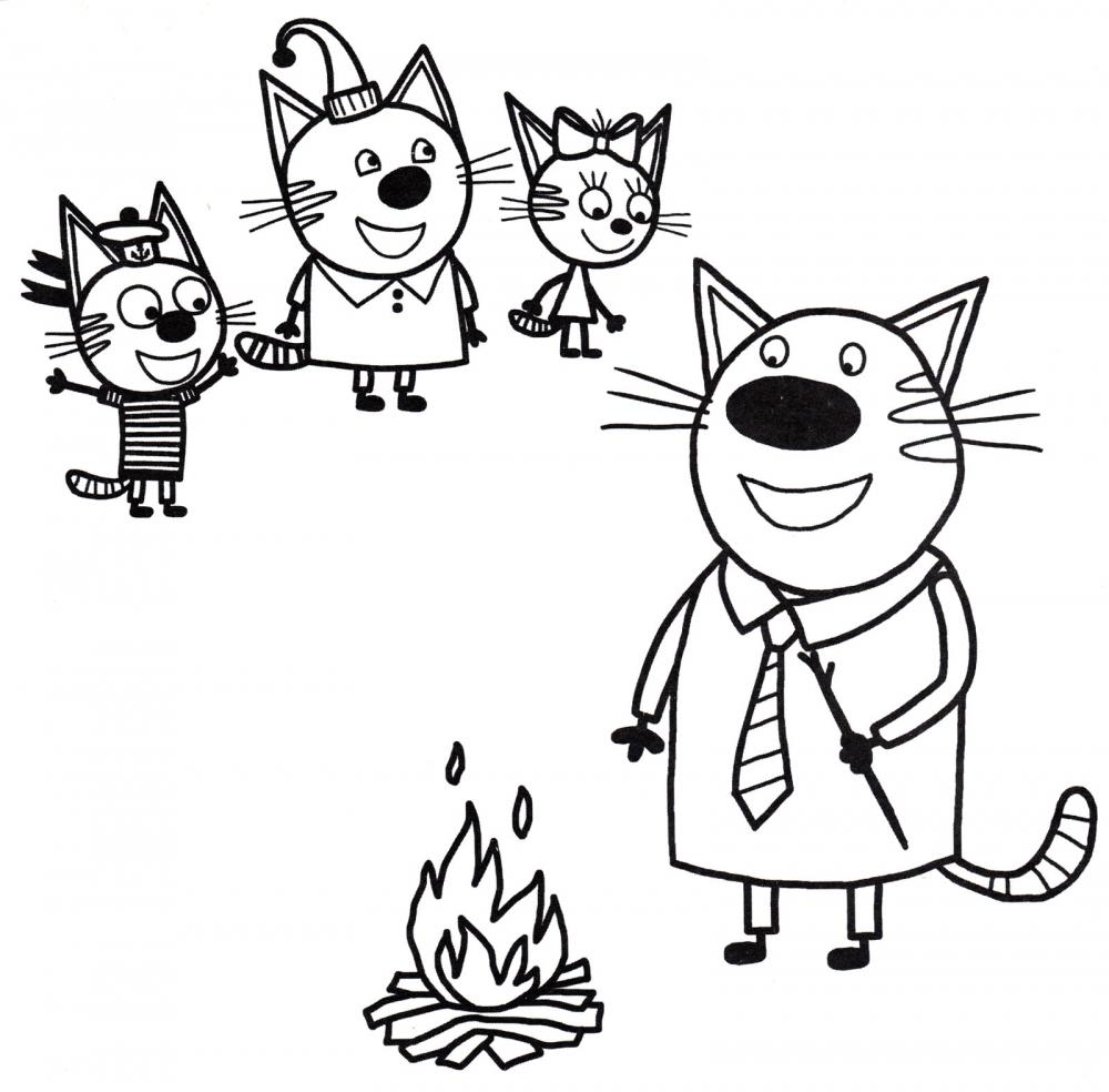 Котята и папа на природе » Раскраски для детей распечатать ...