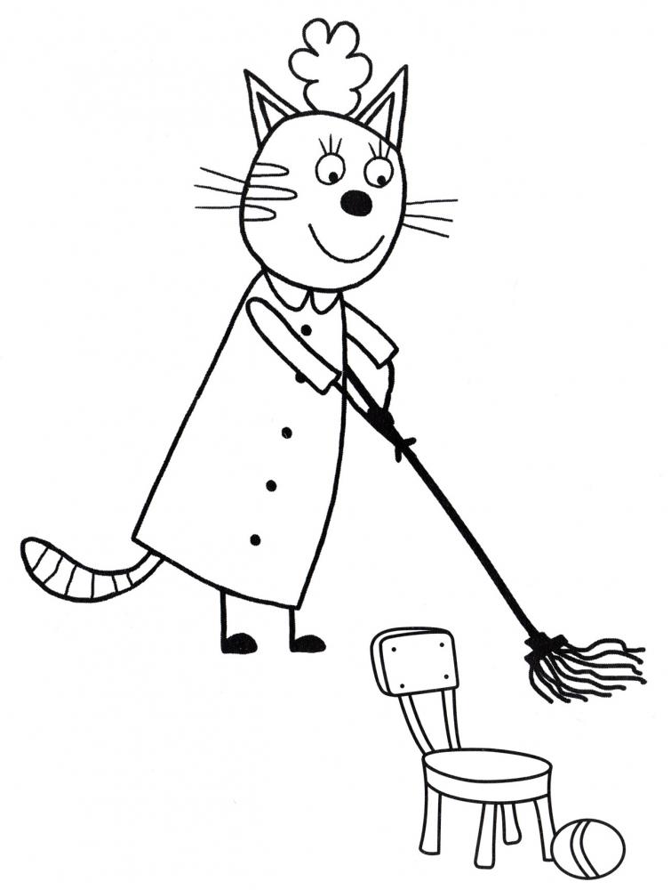 Мама кошка убирается » Раскраски для детей распечатать ...