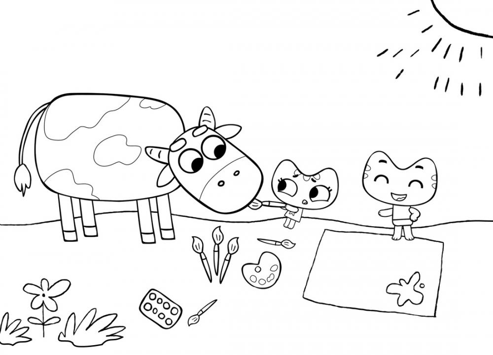 Раскраска котя и катя на поляне - скачать раскраску из ...