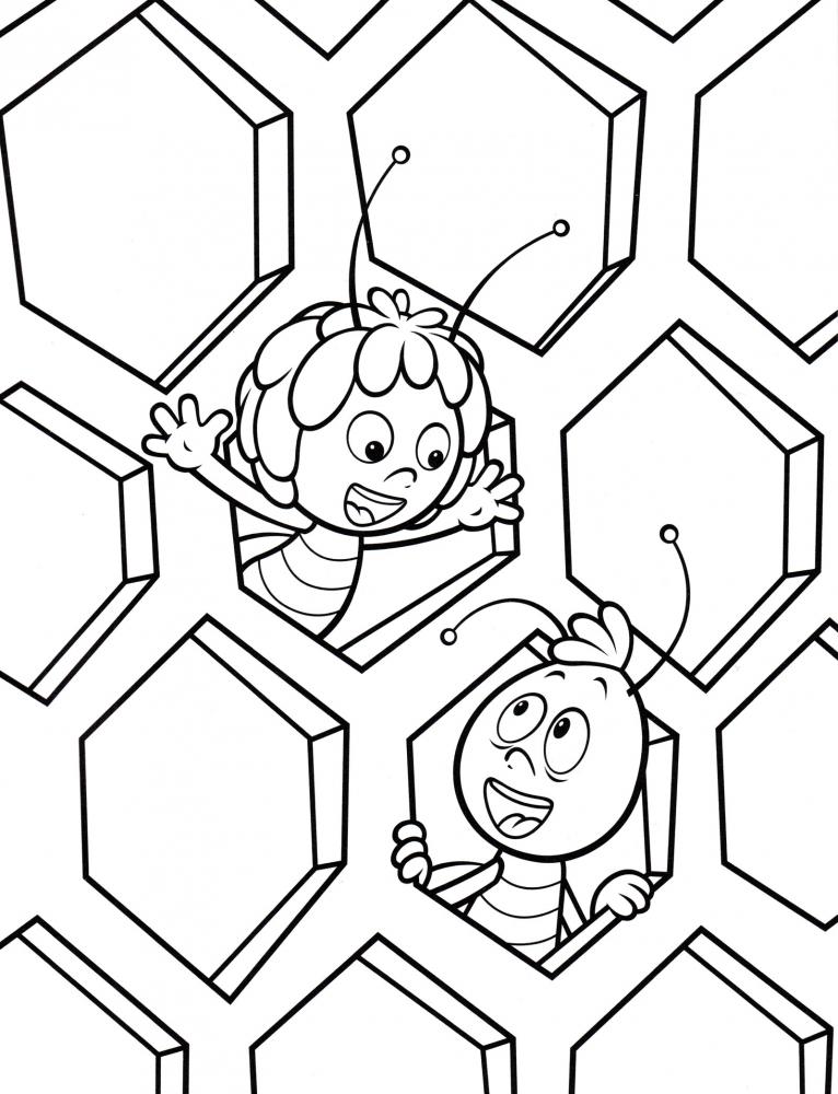 Раскраска пчелка мая с другом - скачать раскраску из ...