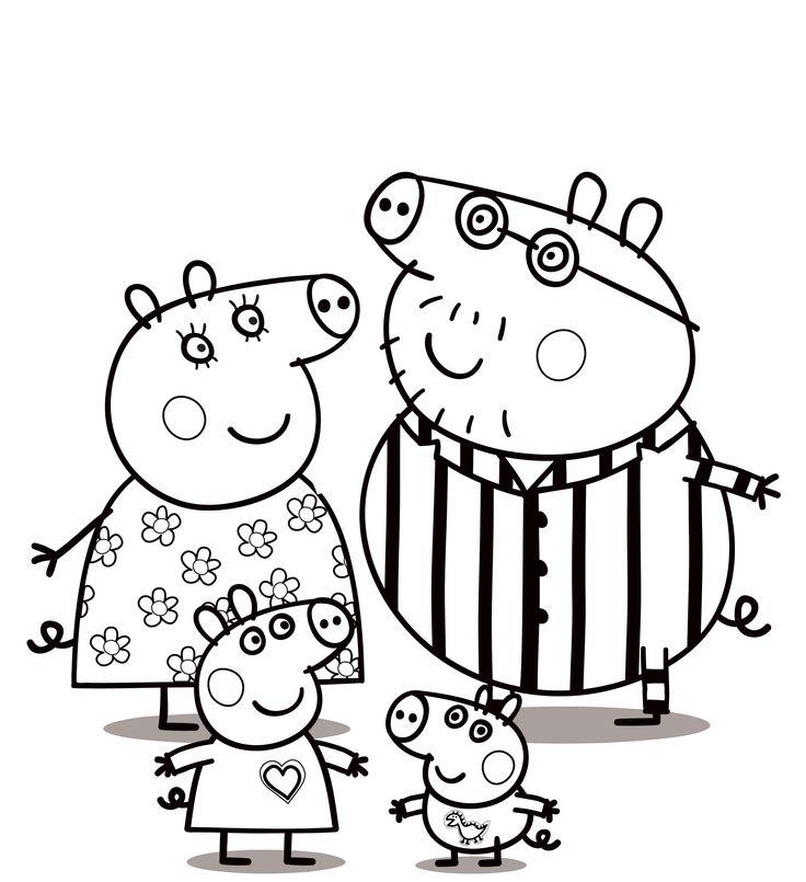 Раскраска семья свинок в пижамах - скачать раскраску из ...