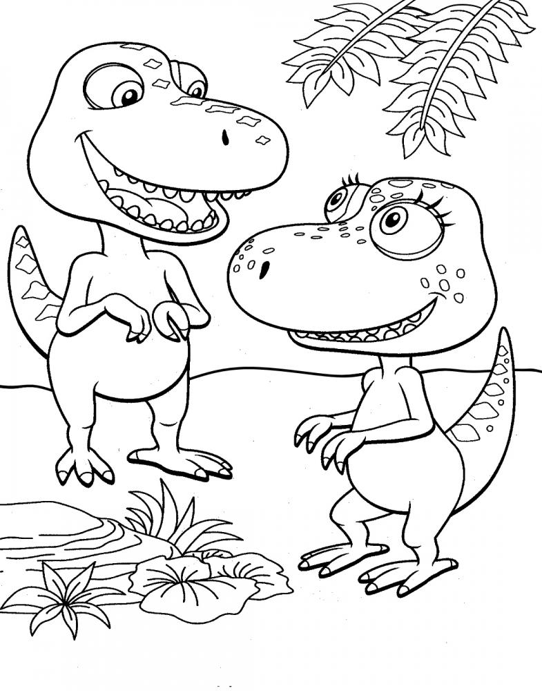 Раскраска два динозаврика - скачать раскраску из раздела ...