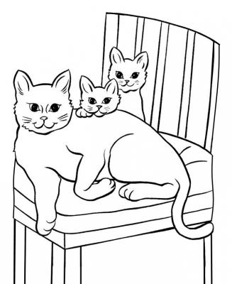 Раскраска кошка мама и сынок - скачать раскраску из ...
