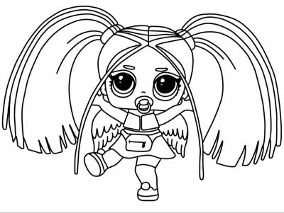 Раскраска лол с хвостиками и крыльями - скачать раскраску ...