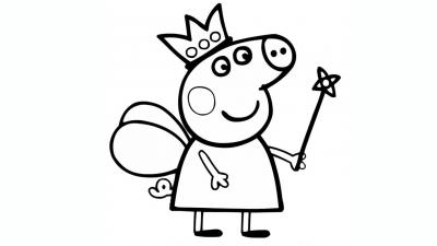 Раскраска свинка пеппа с мячиком - скачать раскраску из ...