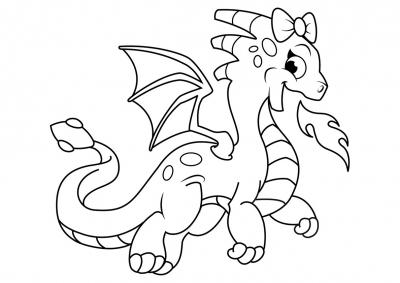 Раскраска дракоша с бантиком - скачать раскраску из ...