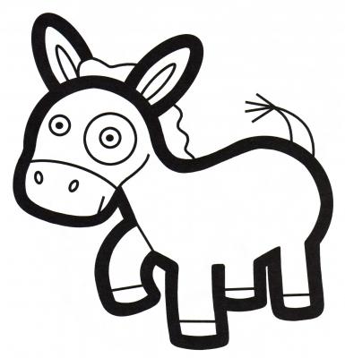 Раскраска ослик с бантиком, осел, бант, животное - скачать ...